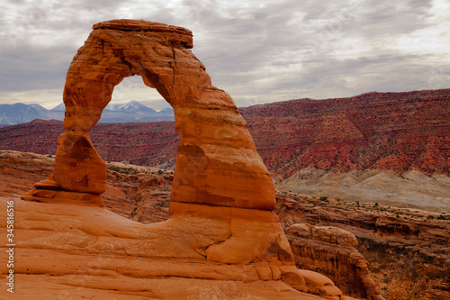 Delicate Arch, a freestanding natural arch in Arches National Park in Utah that is over 50 feet tall
