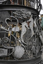 Close-up Of Wrought Iron And Sea Animals