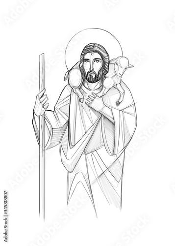 Canvas Print Jesus Christ Good Shepherd illustration