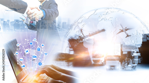 Fototapeta Smart technology concept with global logistics partnership Industrial Container Cargo freight ship, internet of things Concept of fast or instant shipping, Online goods orders worldwide obraz