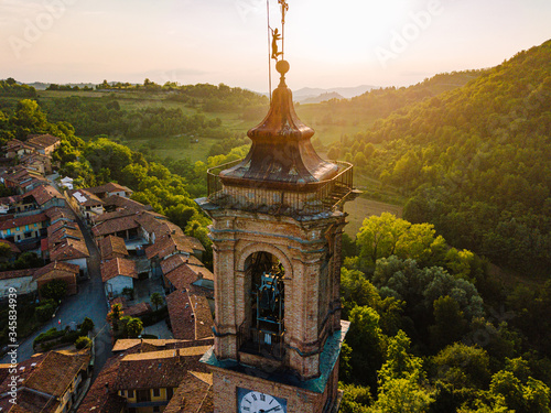 Aerial view of Aramengo, Province of Asti, Italy Canvas Print