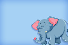 Background Template With Plain Color Wall And Happy Elephant