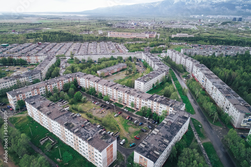 Photo Aerial Townscape of Apatity Town located in Kola Peninsula in Nothern Russia