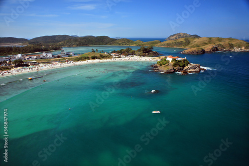Aerial photo of Forte beach with turquoise sea in Cabo Frio city in Rio de Janei Canvas Print