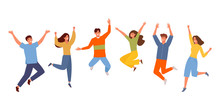 Happy People Jumping Set. Youn...