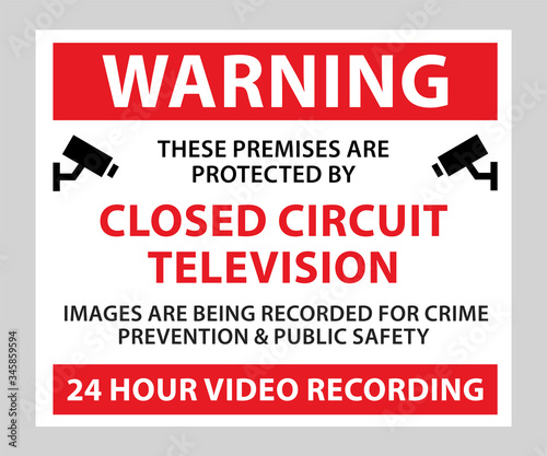 Photo Warning these premises are protected by CCTV camera sign post