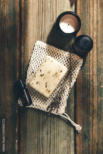 Papel de parede Organic lavender soap on wooden background