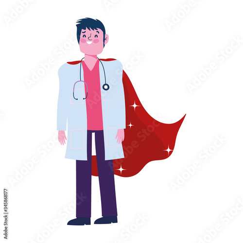 thanks doctor, physician male professional with superhero cape Wallpaper Mural