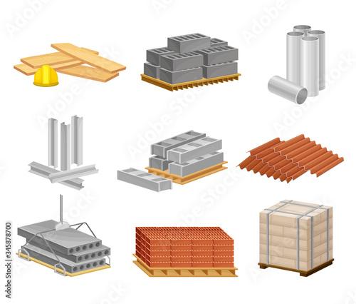Building and Construction Materials Like Sand and Bricks Vector Set Tapéta, Fotótapéta