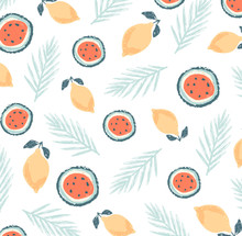 Summer Collection. Set Of Summer Icons And Design Elements.  Lemon, Leaves, Watermelon. D Of The Window Does Exercises.