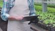 Farmer starting modern smart greenhouse system on tablet, using mobile app