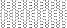 Hexagon Seamless Pattern. Honeycomb Vector Texture. Futuristic Hexagonal Simple Structure. Modern Mesh For Textile. Honey Grate