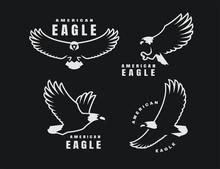 Set Of Logos. American Eagle In Flight On A Dark Background. Vector Illustration.
