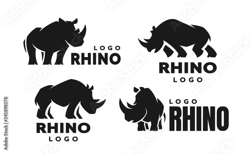 African rhino silhouette. Set of logos. Vector illustration. Wallpaper Mural