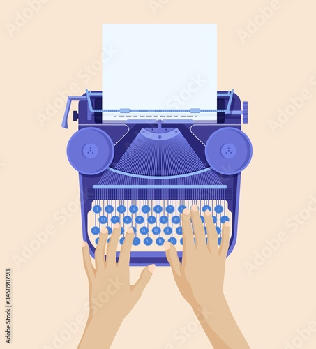 Hands typing on retro typewriter Canvas Print