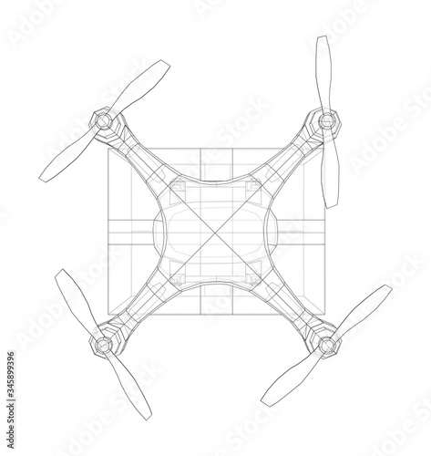 Delivery drone concept outline. Vector Wall mural