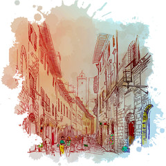 Panel Szklany 3D Street panorama in San Gimignano, Italy. Vintage design. Linear sketch on a watercolor textured background. EPS10 vector illustration