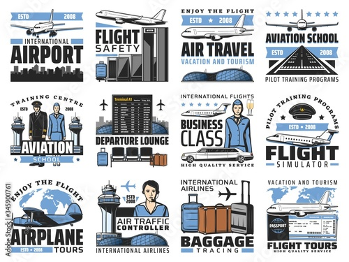Photo Airport and aviation, aircrew and air travel vector icons