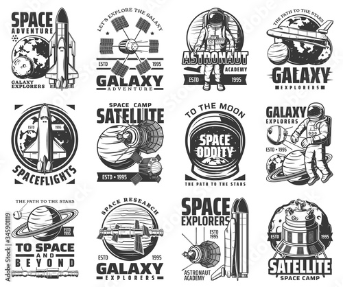 Tablou Canvas Galaxy exploration and outer space adventure vector icons