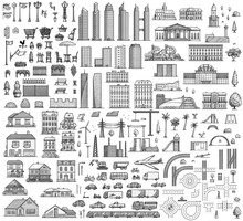 City Map Elements Illustration...