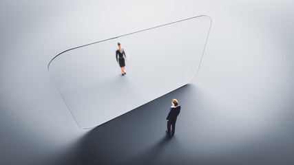 Man and woman meet on both sides of glass wall. Protection against Coronavirus COVID-19,