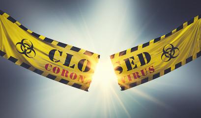 End of coronavirus COVID-19 economic lockdown. Tearing caution tape