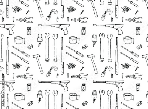 drawn tools pattern doodle paper black and white weapons inventory break stuff a Canvas Print