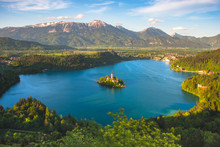 Aerial View Of Lake Bled And J...