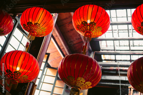 Chinese lanterns in a buddhist temple in Kuala Lumpur Wallpaper Mural