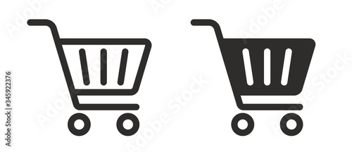 Full and empty shopping cart symbol shop and sale icon Fototapet
