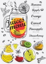 Juice Menu, Hand Drawn Illustr...