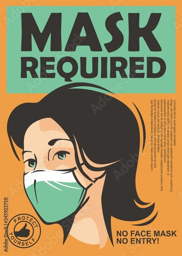 Mask required warning sign with young girl wearing face mask. Vector door sign illustration. © lukeruk