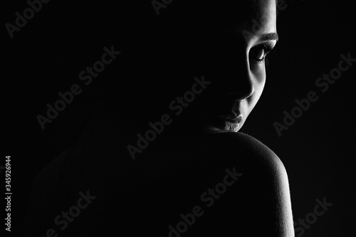 Beautiful Woman silhouette in the dark Canvas Print