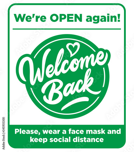 Cuadros en Lienzo Open sign on the front door - welcome back! We are working again