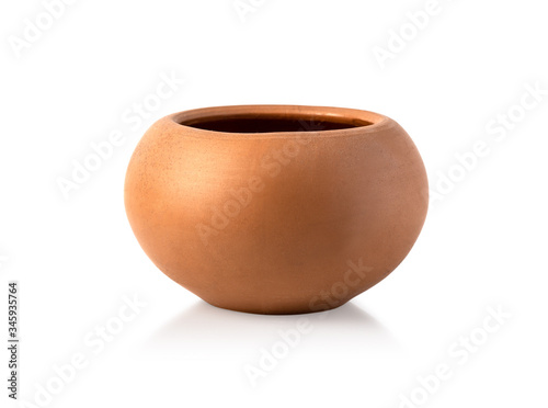 Foto Empty ceramic brown flower pot