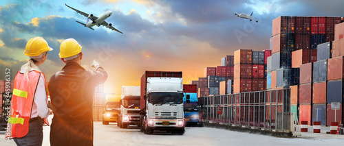 Engineering with logistics background or transportation Industry or shipping bus Fotobehang