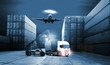 the logistics, there are container truck, ship in port and airplane