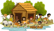 Group Of Cartoon Neolithic People Working. Prehistoric People.