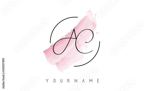 Photo AC A C Handritten Letters Logo with Pink Pastel Watercolor Brush Stroke Concept
