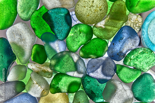 glass pieces polished by the sea isolated on transparent background Tapéta, Fotótapéta