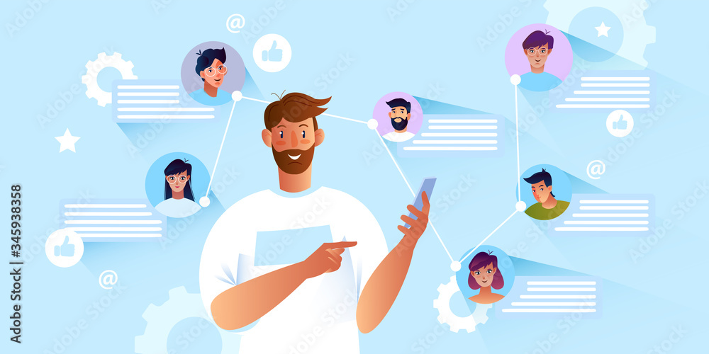 Fototapeta Online communication concept with young bearded male character using smartphone. Group chat banner with users' avatars and message bubbles. Internet teamwork and social media background.