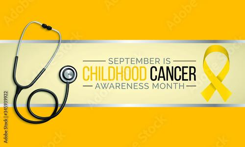 Obraz na plátne Vector illustration on the theme of Childhood Cancer awareness month observed each year during September