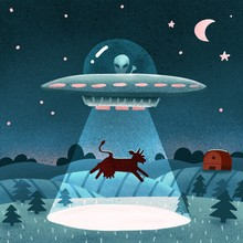 UFO With Alien Abducting A Cow...