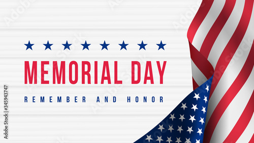Memorial Day - Remember and Honor Poster. Usa memorial day celebration. American national holiday - 345943747