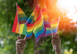Fototapeta Tęcza - LGBT, pride, rainbow flag as a symbol of lesbian, gay, bisexual, transgender, and queer pride and LGBTQ social movements in June month