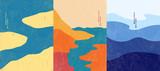 Ilustracji wektorowych. Streszczenie tło krajobraz. Ręcznie rysowane wzór. Szablon geometryczny. Koncepcja plakatu ozdobnych. Sztuka vintage. Grafika retro z lat 70-tych i 80-tych. Ocean, wyspy, pejzaż morski