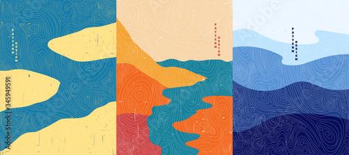 Fototapeta Vector illustration. Abstract landscape background. Hand drawn pattern design. Geometric template. Ornamental  poster concept. Vintage art. 70s, 80s retro graphic. Ocean, islands, seascape obraz