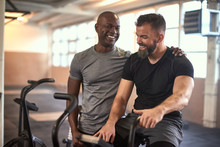 Two Men Laughing After Exercis...