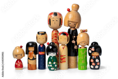 Tableau sur Toile Collection of Japanese kokeshi dolls