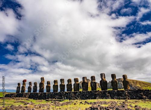 Ahu Tongariki moai platform in a row rear view Canvas Print